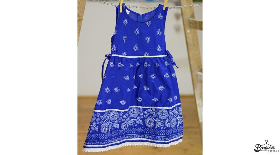 5a98d2facc Középkék színű, bordűrös kékfestő mintájú lány ruha - Kék- és ...