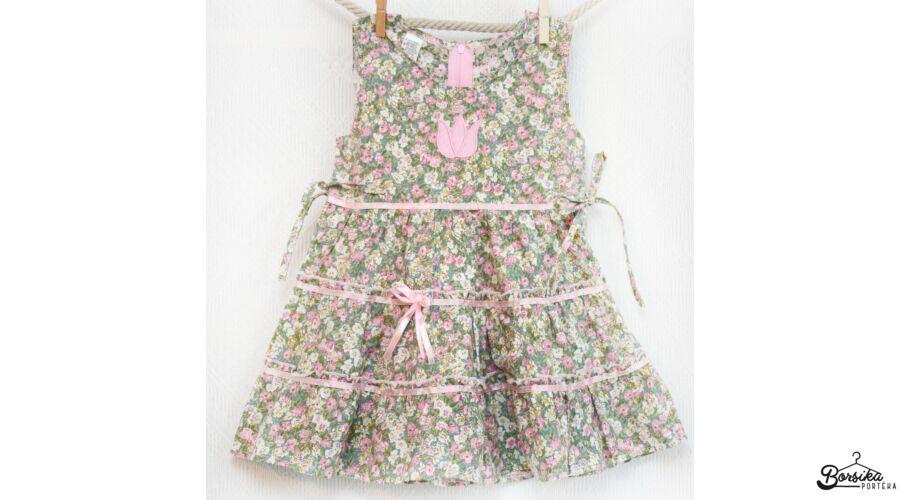 09716448e4 Zöld-rózsaszín, apró virágos nyári ruha - Nyári, pamutvászon ruhák ...
