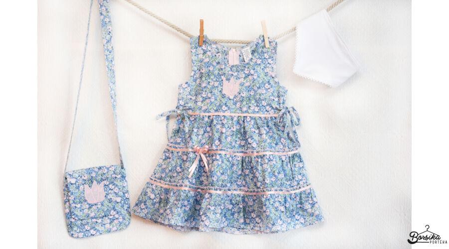 79600e45a6 Kék-rózsaszín, apró virágos nyári lány ruha - Nyári, pamutvászon ...