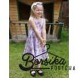 Kislány nyári ruha, virágmintás, halványlila, Borsika Portéka