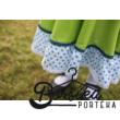 Zöld-kék PÖRGŐS ruha kalotaszegi motívummal, csipkével díszítve