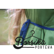 Zöld PÖRGŐS ruha kalotaszegi motívummal, kék csipkével