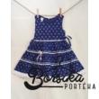 Sötétkék színű, apró virágos, kékfestő mintájú lány ruha (122-128-as méretben)