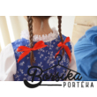 Középkék színű, nagy virágos kékfestő mintájú lány ruha (98-104-es méret)
