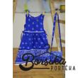 Középkék színű, bordűrös kékfestő mintájú lány ruha (98-104-es méret)