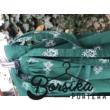 Zöld, bordűrös, PÖRGŐS néptáncos szoknya megkötővel (290 cm)