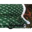 Zöld színű, apró virágos, zöldfestő mintájú, kicsit pörgős néptáncos szoknya gumival (200 cm körben) - 40 cm hosszú