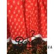 Piros színű, apró virágos, kicsit pörgős néptáncos szoknya megkötővel (200 cm körben) - 40 cm hosszú, derékbőség: 60 cm