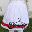Piros színű, apró virágos, pirosfestő mintájú néptáncos szoknya (NEM pörgős, 150 cm körben) - 25 cm hosszú