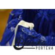 Középkék színű, PÖRGŐS, bordűrös, kékfestő mintájú néptáncos szoknya gumis derékkal (290 cm körben) - 25 cm hosszú
