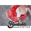 Bordűrös, PÖRGŐS, pirosfestő mintájú néptáncos szoknya gumis derékkal (290 cm körben)