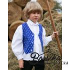 Középkék apróvirágos kékfestő mintájú fiú mellény