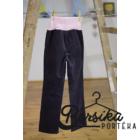Kékes-szürke, kordbársony, passzés derekú, lány nadrág rózsaszín hímzéssel