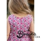 Rózsaszín, hat szirmos, apró virágos, nyári ruha