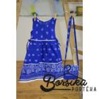 Középkék színű, bordűrös kékfestő mintájú lány ruha
