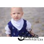 Sötétkék színű, bordűrös kékfestő mintájú lány ruha