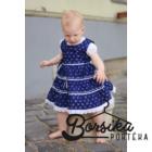 Sötétkék színű, apró virágos, kékfestő mintájú lány ruha