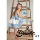 Kék-vajszínű, apró virágos nyári ruha