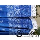 Középkék, bordűrös, PÖRGŐS néptáncos szoknya megkötővel (290 cm)
