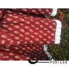 Bordó színű, apró virágos, kicsit pörgős néptáncos szoknya megkötővel (200 cm körben)