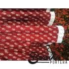 Bordó színű, apró virágos, kicsit pörgős néptáncos szoknya gumival (200 cm körben)