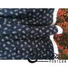 Sötétkék színű, apró virágos, kicsit pörgős néptáncos szoknya gumival (200 cm körben)