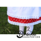 Piros színű, apró virágos, pirosfestő mintájú néptáncos szoknya (NEM pörgős, 150 cm körben)