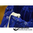 Sötétkék színű, PÖRGŐS, tulipános, kékfestő mintájú néptáncos szoknya gumis derékkal (290 cm körben)