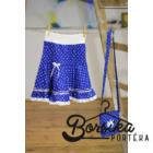 Középkék színű, PÖRGŐS, tulipános, kékfestő mintájú lány szoknya