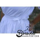 Fehér, vászon, PÖRGŐS néptáncos szoknya, alsószoknya megkötővel (290 cm körben)