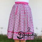 Pink, apró virágos, EXTRA PÖRGŐS, villantós, néptáncos szoknya (440 cm körben)