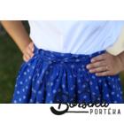 Középkék, új bordűrös, kékfestő mintás, EXTRA PÖRGŐS, néptáncos szoknya (440 cm körben)