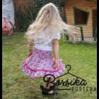 Rózsaszín, apró virágos, nyári pörgős szoknya