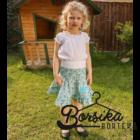Türkiz, apró virágos, nyári pörgős szoknya