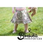 Zöld-rózsaszín, apró virágos táska