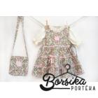 Zöld-rózsaszín, apró virágos nyári ruha