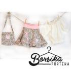 Zöld-rózsaszín, apró virágos, nyári pörgős szoknya