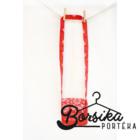 Bordűrös pirosfestő mintájú táska