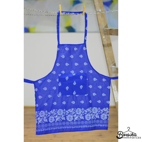 Kékfestő mintájú bordűrös kötény
