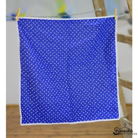 Tulipános kékfestő mintájú terítő