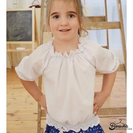 Fehér lányka blúz (alul gumizott)