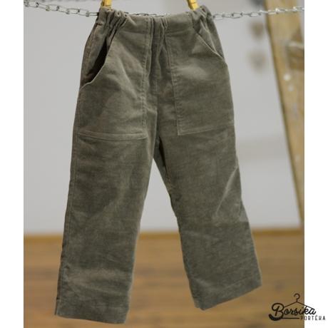 Keki zöld, gumis derekú, kordbársony, fiú nadrág