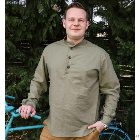 Borsika Portéka - Keki zöld színű, lenvászon férfi ing