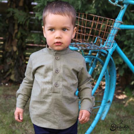 Borsika Portéka - Keki zöld színű, lenvászon fiú ing