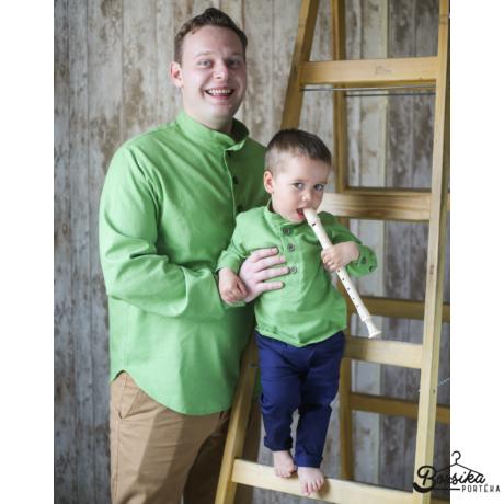 Borsika Portéka - Pisztácia zöld színű, lenvászon férfi ing