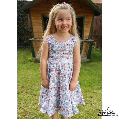 Kislány nyári ruha, fehér alapon virágmintás, Borsika Portéka