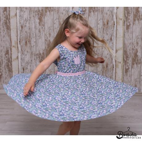 Lányka nyári ruha, kék, apró virágmintás, Borsika Portéka