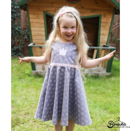 Kislány nyári ruha, barokk mintás, szürke rózsaszín