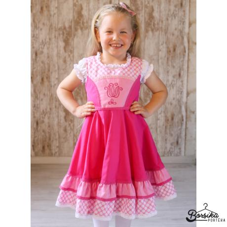 Rózsaszín PÖRGŐS ruha kalotaszegi motívummal, csipkével díszítve