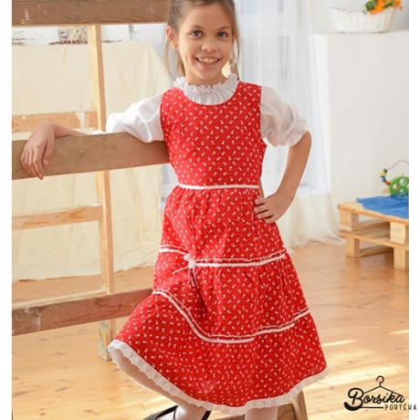 Tulipános pirosfestő mintájú lány ruha